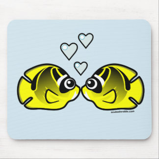 Raccoon Butterflyfish Love Mouse Pad