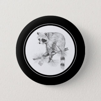 Raccoon Button in pencil