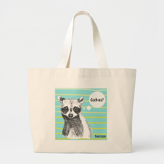 Raccoon_Cookies_113323534.ai Large Tote Bag