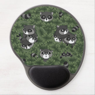 Raccoon Family in a Bush Gel Mouse Pad