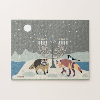 Raccoon.Fox.Magpie at Mt. Desert Hanukkah Jigsaw Puzzle