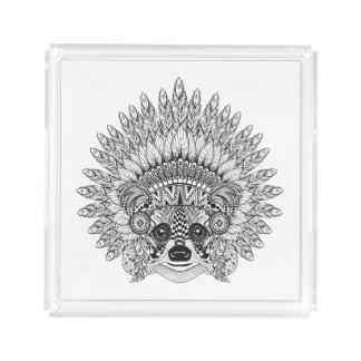 Raccoon In Feathered War Bonnet Doodle Acrylic Tray