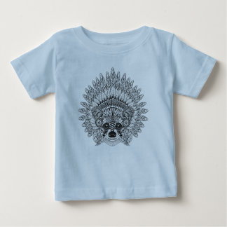 Raccoon In Feathered War Bonnet Doodle Baby T-Shirt