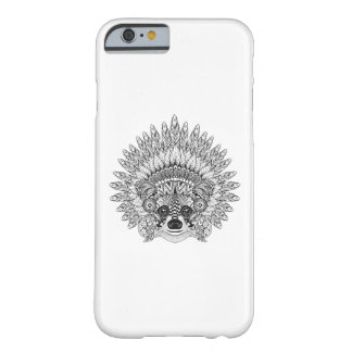 Raccoon In Feathered War Bonnet Doodle Barely There iPhone 6 Case