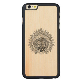 Raccoon In Feathered War Bonnet Doodle Carved® Maple iPhone 6 Plus Case
