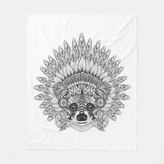 Raccoon In Feathered War Bonnet Doodle Fleece Blanket