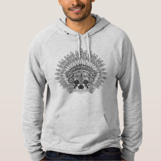 Raccoon In Feathered War Bonnet Doodle Hoodie