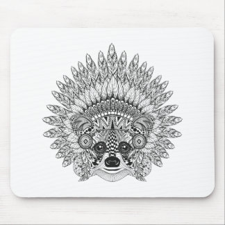 Raccoon In Feathered War Bonnet Doodle Mouse Mat