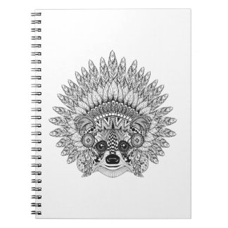 Raccoon In Feathered War Bonnet Doodle Notebook