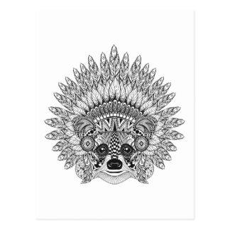 Raccoon In Feathered War Bonnet Doodle Postcard