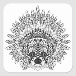 Raccoon In Feathered War Bonnet Doodle Square Sticker