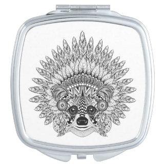 Raccoon In Feathered War Bonnet Doodle Vanity Mirror