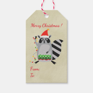 Raccoon In Santa Hat Tangled Up In Xmas Lights Gift Tags