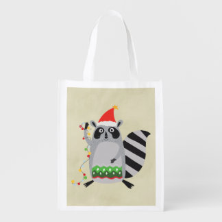 Raccoon In Santa Hat Tangled Up In Xmas Lights Reusable Grocery Bag