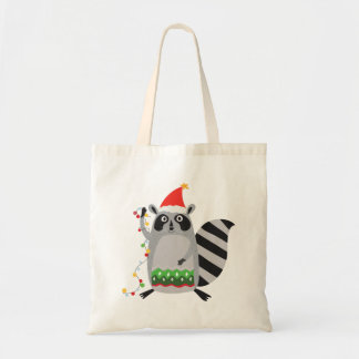 Raccoon In Santa Hat Tangled Up In Xmas Lights Tote Bag