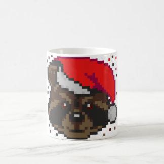 Raccoon In Santa's Hat Stray Pixels Coffee Mug