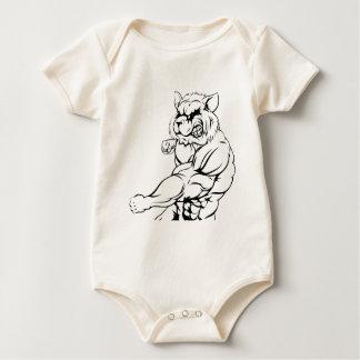 Raccoon mascot fighting baby bodysuit