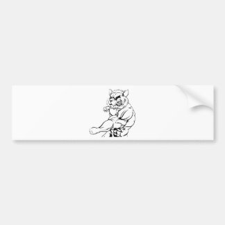 Raccoon mascot fighting bumper sticker