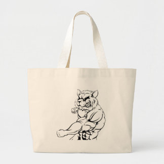 Raccoon mascot fighting large tote bag