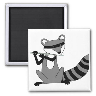 Raccoon Playing the Flute Magnets