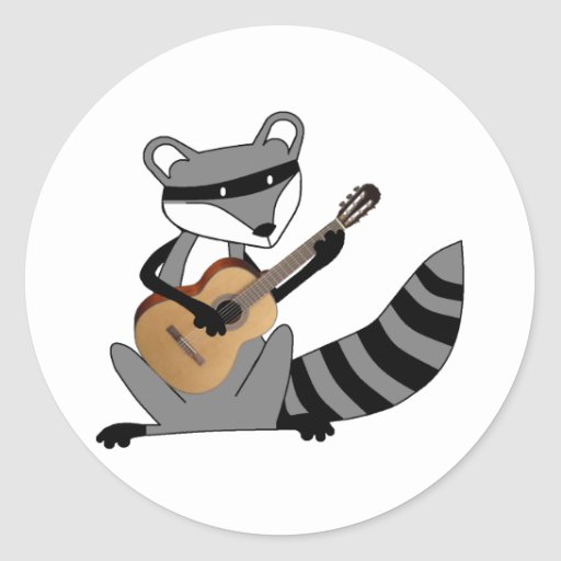 Raccoon Playing the Guitar Round Stickers