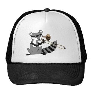 Raccoon Playing the Trombone Trucker Hat
