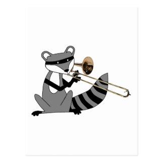 Raccoon Playing the Trombone Postcard