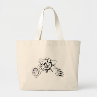 Raccoon ripping through background large tote bag