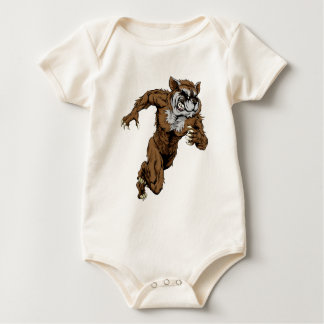 Raccoon sports mascot running baby bodysuit