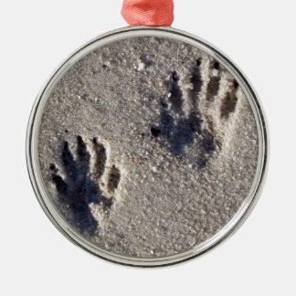 Raccoon Tracks in the Sand Christmas Ornament