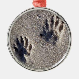 Raccoon Tracks in the Sand Silver-Colored Round Decoration
