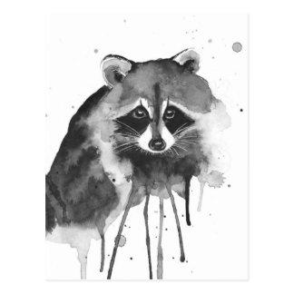 raccoon watercolor postcard