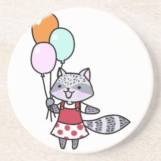 Raccoon With Balloons Coaster