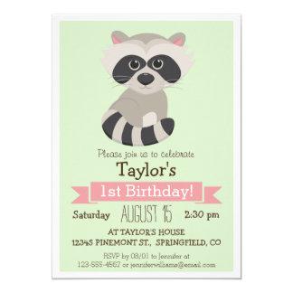Raccoon, Woodland Animal Kid's Birthday Party Card