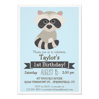 Raccoon, Woodland Animal Kid's Birthday Party Card