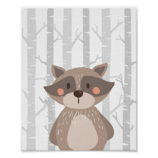 Raccoon Woodland Animal Nursery Wall Art Print