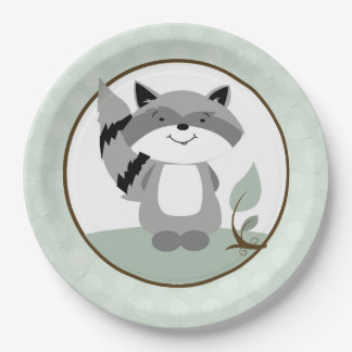 Raccoon Woodland Nature Paper Plate | Green 9 Inch Paper Plate