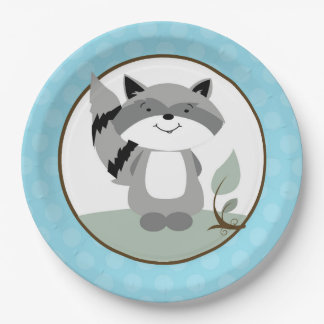 Raccoon Woodland Nature Paper Plate   Teal 9 Inch Paper Plate
