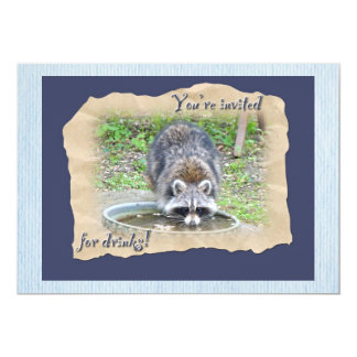 "Raccoon - You're Invited for Drinks 5"" X 7"" Invitation Card"
