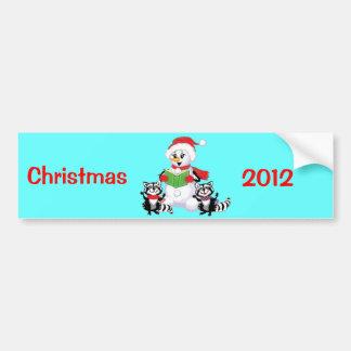 Raccoons and Snowman Christmas Carol Bumper Sticker