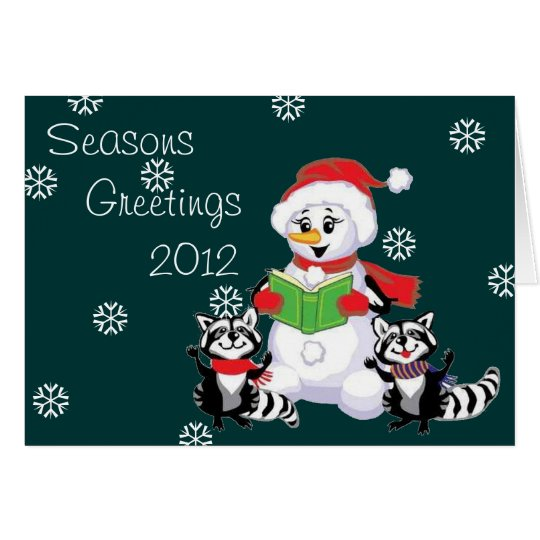Raccoons and Snowman Christmas Carol Card