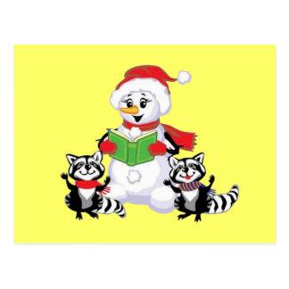 Raccoons and Snowman Christmas Carol Postcards