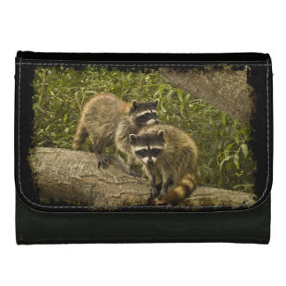 Raccoons in Grunge Leather Wallet