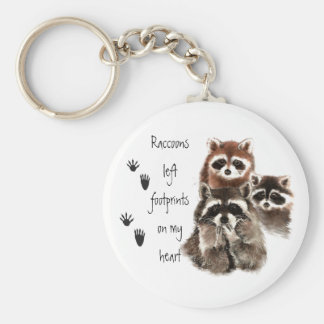 Raccoons left footprints on my Heart Cute animal Key Ring