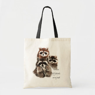 Raccoons left footprints on my heart Cute Animals Budget Tote Bag