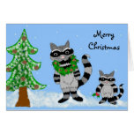 Raccoons - Merry Christmas Greeting Card