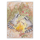 Raccoons Roasting Marshmallows Holiday Card
