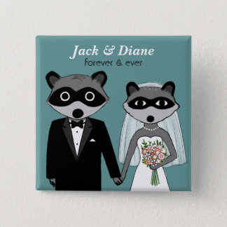 Raccoons Wedding 15 Cm Square Badge