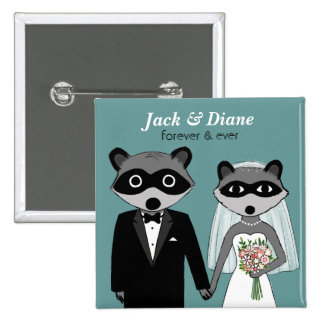 Raccoons Wedding 15 Cm Square Badge
