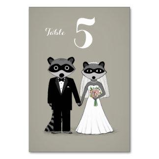 Raccoons Wedding Bride and Groom Table Card